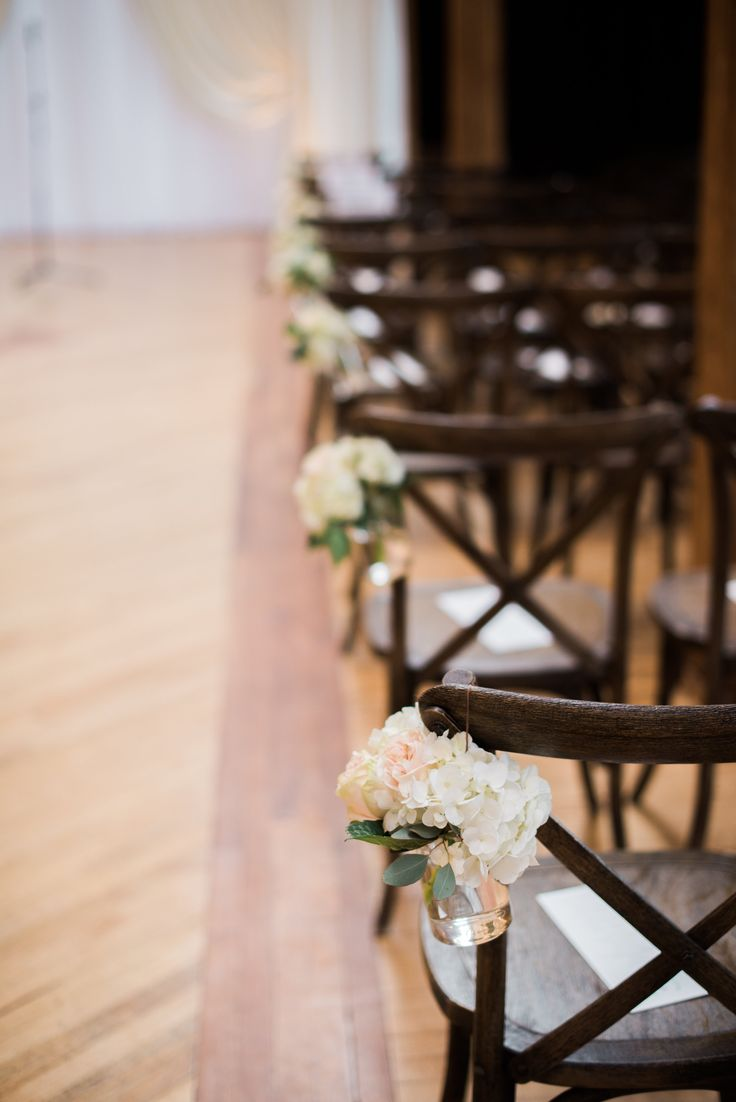 {{Spring wedding ceremony aisle arrangements with hydrangea at Bridgeport Art Center Skyline Loft in Chicago.}} Photography by Britta Marie Photography http://brittamariephotography.com/    Flowers by Pollen, pollenfloraldesign.com