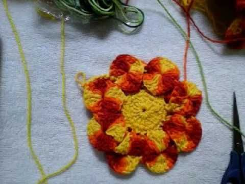 Flor Nova de croché olho de coruja parte 1 - YouTube