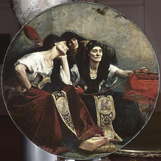 Spirit ~ The Fates [Alfred Agache]. On the right in this image, Clotho (Κλωθώ), the Greek word for spinner, is the youngest of the Moirae. Her position is first of Three Fates, as it is Clotho who spins the threads of life with her distaff.