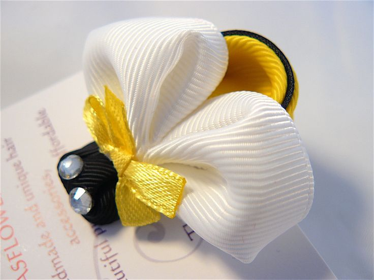 Handmade Kanzashi girls toddler baby hair clip bow - buy in UK,shipping worldwide-Bumble Bee pin grip slide by MARIASFLOWERPOWER on Etsy