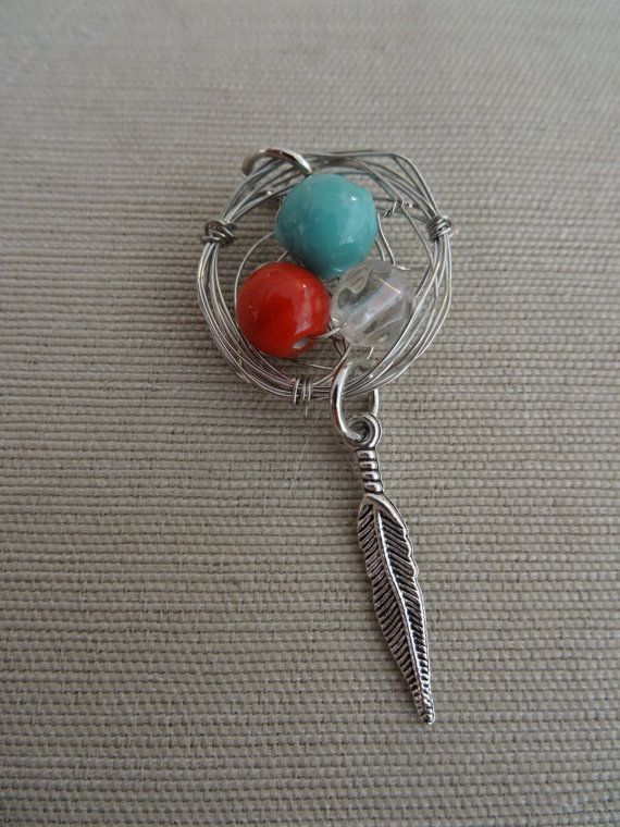 Silver Multicolored Birds Nest Pendant with by YoungOliveJewelry