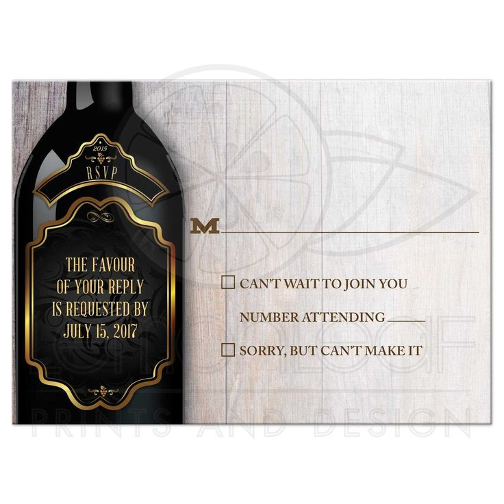 reply to wedding invitation m%0A Wedding RSVP Reply Card  Rustic Winery Vineyard Wine Bottle