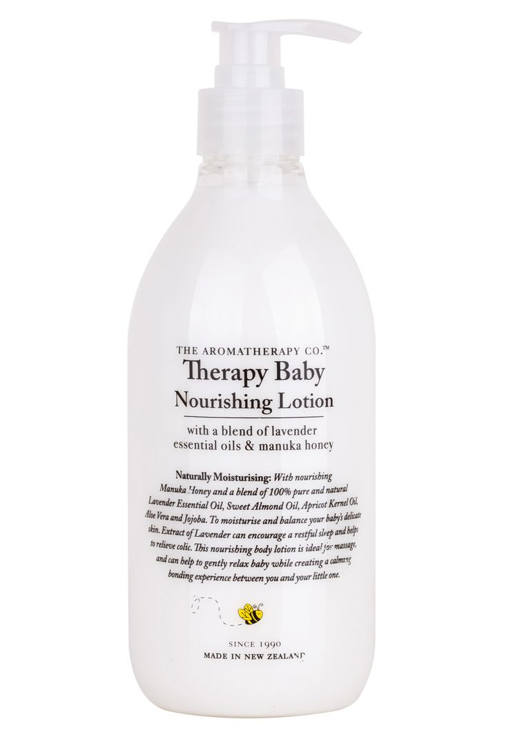 The Aromatherapy Company Therapy Baby Nourishing Lotion with Manuka honey and a blend of 100% pure and natural, organic Lavender Essential Oil, as well as Sweet Almond Oil, Apricot Kernel Oil, Aloe Vera and Jojoba to moisturise and balance baby's delicate skin.  Extract of lavender can encourage a restful sleep and helps to relieve colic.  500ml.  Made in New Zealand.  Contains natural active ingredients.  No animal testing.