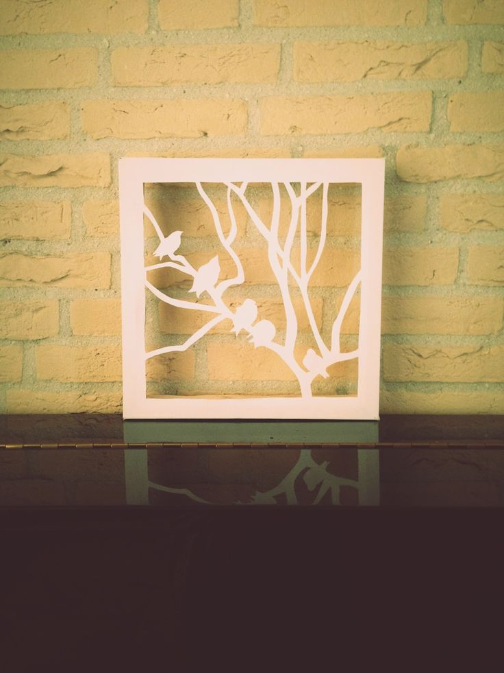 cut canvas - birds on a tree silhouette (made in 60 minutes!)
