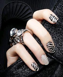 STYLING Model Hands :: Zebra Bling Nail Art