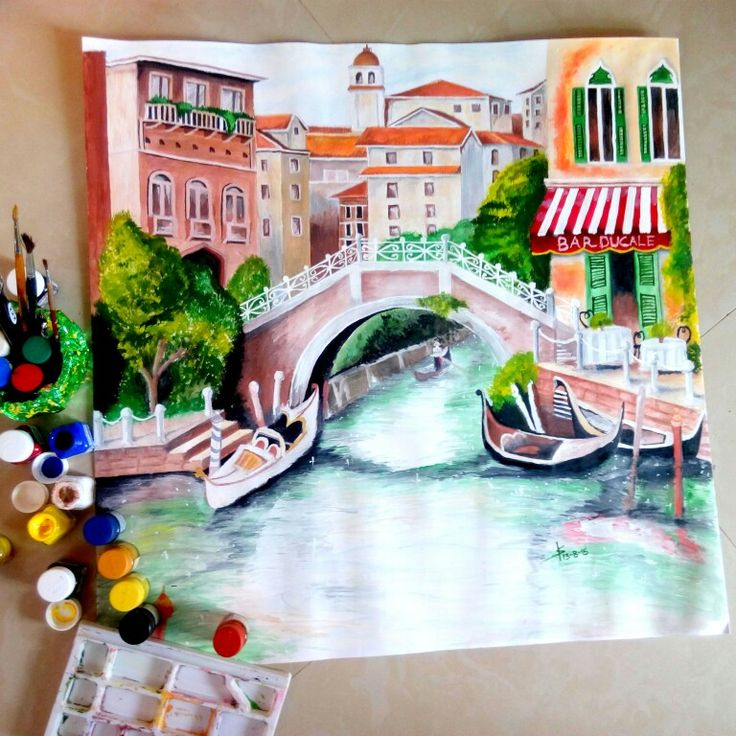 Painting is ready for the shot  Venice, Italy - A City of love It is one of the most beautiful and romantic city in the world. I find vibrant colors in this city are eye-catcher