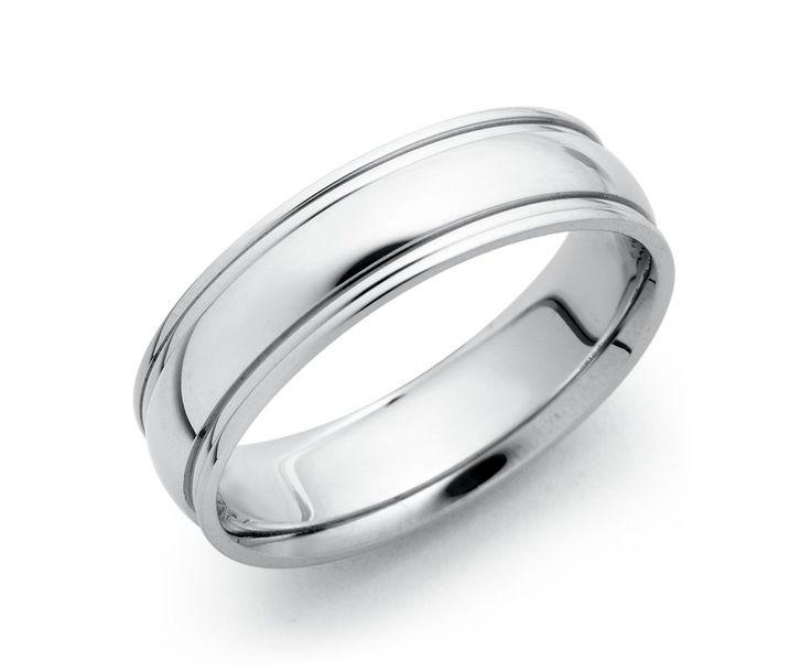 Ridged Wedding Ring in 18k White Gold #BlueNile