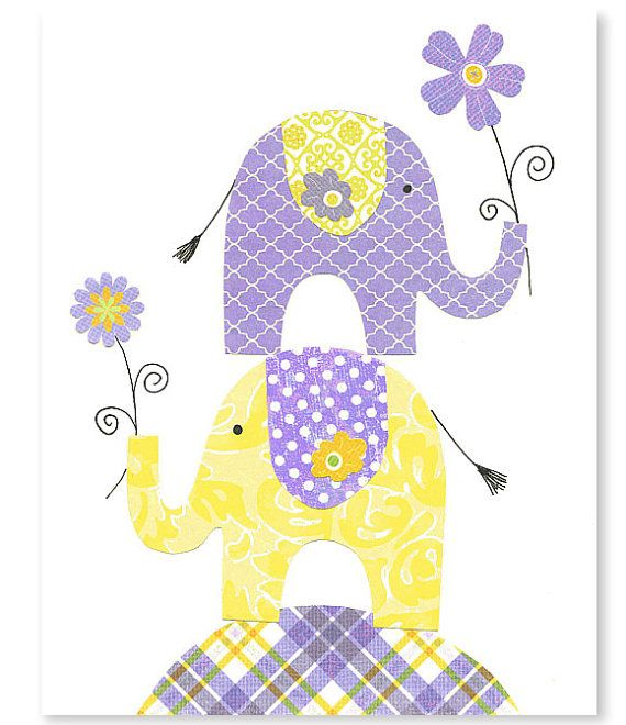 Kindergarten Kunstdruck Elefant Kinderzimmer von SweetPeaNurseryArt