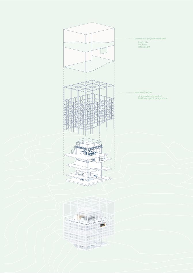 Zoe Ella. Victoria University, Wellington NZ. http://cargocollective.com/zoeella Exploded Axonometric | Illustration | Infill House | Architecture | VUW | ARCI212