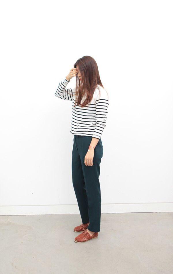 naval stripe T / dark green slacks / brown shoes
