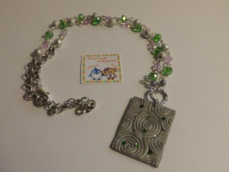 #fimo #green #strass #wonderful #handmade #diy