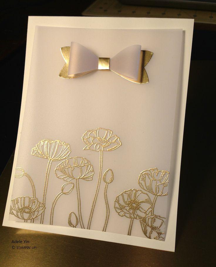 handmade wedding card embossed Gold Poppies