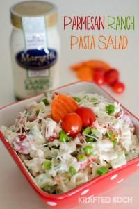 Parmesan Ranch Pasta Salad is a great salad for a family party or BBQ!