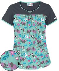 UA Jungle Love Mint Fan Print Scrub Top