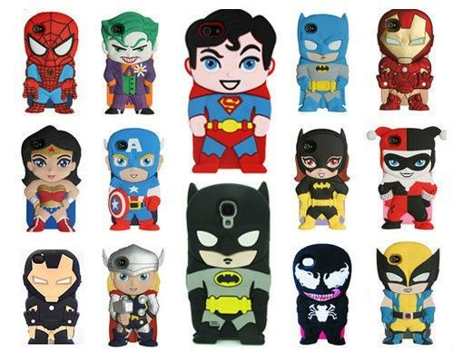 3D Stylish SUPERHERO COOL CUTE SOFT SILICON CASE for iPhone 4/4S/5/5S/5C/S4 (cute superhero cartoons)