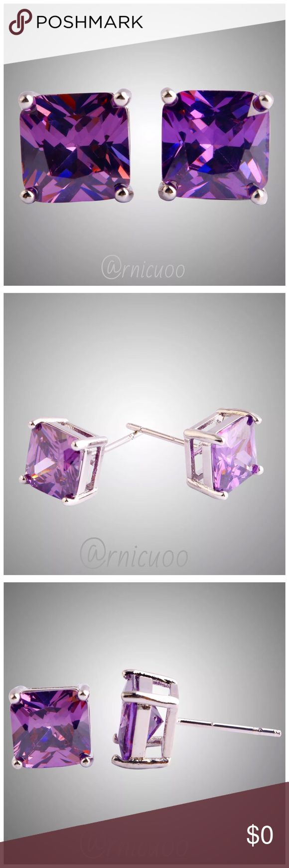 "925 Square 8mm Amethyst Stone Stud Earrings Beautiful & Shiny, Sterling Silver 8mm Square Amethyst Stud Earrings! Buy for yourself or will make a perfect gift!!  • .925 Sterling Silver, post back • 8mm Amethyst Stone; 5 Carat Stone  ➖Prices Firm, Bundle for 20% Discount ➖""Trade"" & Lowball Offers will be ignored ➖Sales are Final, Please read Description & Ask Any Questions! Boutique Jewelry Earrings"