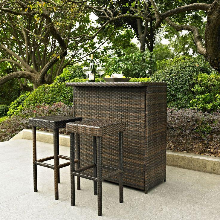 Crosley Palm Harbor 3 Piece Outdoor Wicker Patio Bar Set - KO70009BR
