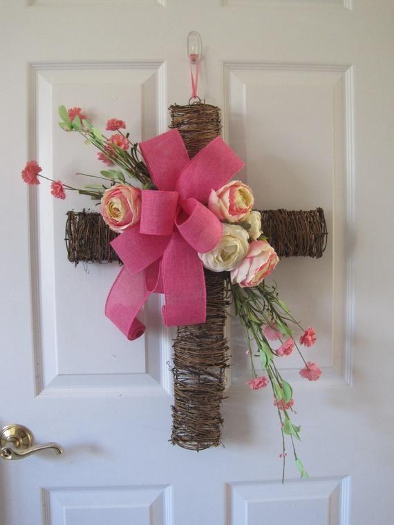Floral Cross Wreath Cemetery Cross Burial Site Natural Twig Cross Pink Creme Roses Front Door Wreaths Fl Easter Door Decor Cross Wreath Diy Cross Wreath