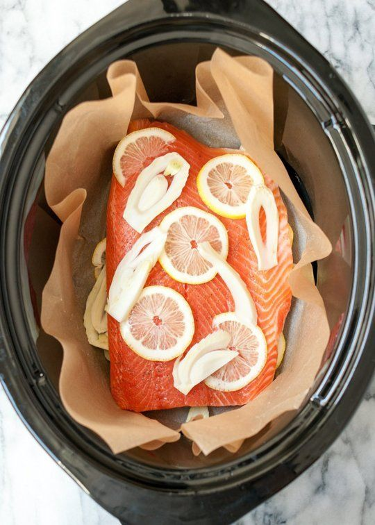 Cook salmon in your slow cooker with this recipe.