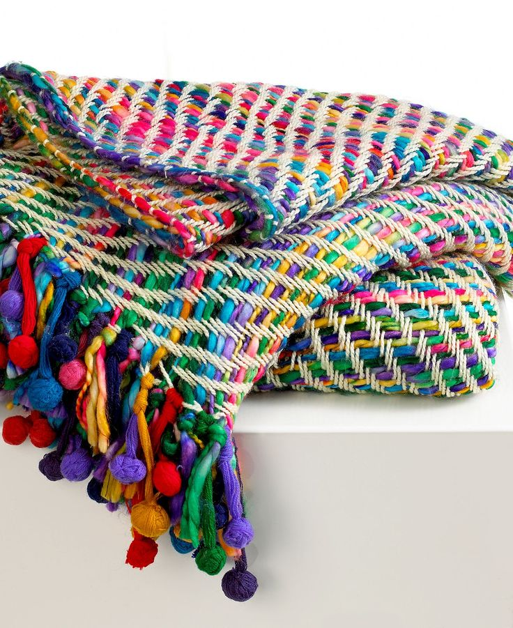 Collier Campbell Blankets, Colorful Pom-Pom Fringe Throw - Blankets & Throws - Bed & Bath - Macy's