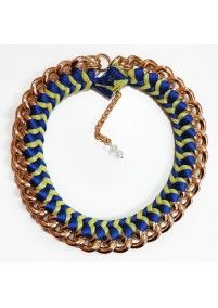 FIRE DE MURG GOLDEN NECKLACE WITH SIMPLE BRAID BLUE-YELLOW http://bit.ly/1p6uASB wearitwithlove.com | Contemporary Fashion. Young Designers