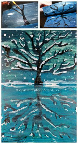 Try this step by step paint, fold & print reflection landscape. Winter snowy tree and lake painting. A great art project for kids or adults. Arts and crafts.