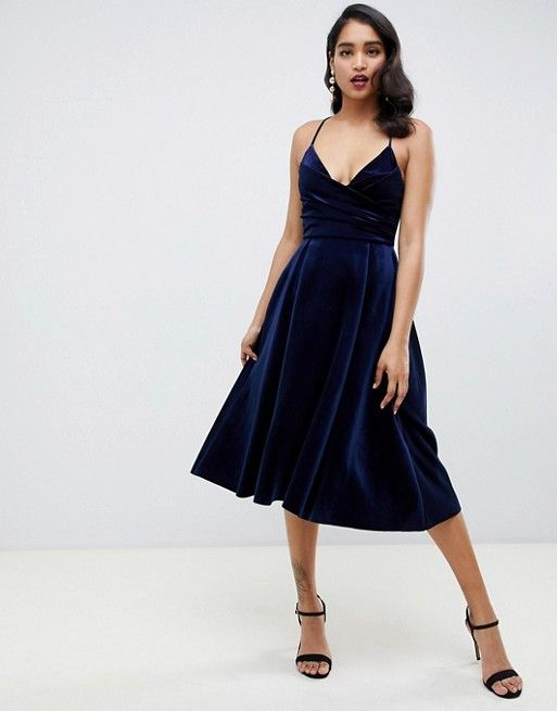 c907f252c26d68 DESIGN bonded velvet cami wrap prom midi dress in 2019