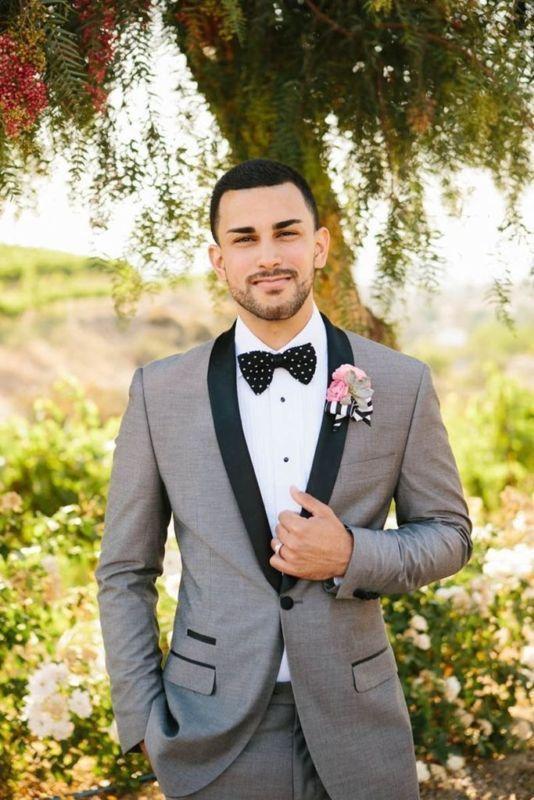 New Grey Groom Tuxedos Tailcoat Best Man Suits Wedding Groomsman 3 Piece Suits