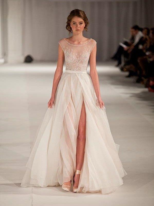 A-line/Princess Scoop rmellos Kurze Ärmel Floor-length Organza Prom Kleidenes