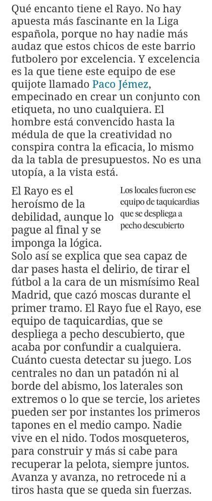"""""""Excelencia; De ese quijote llamado #PacoJémez, empecinado en crear un conjunto con etiqueta"""". http://deportes.elpais.com/deportes/2015/04/08/actualidad/1428509968_692730.html…"""
