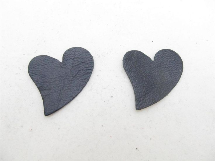 Black leather hearts 40mm (3 pcs) DIY cut leather flowers Craft supplies Jewelry materials Leather pieces