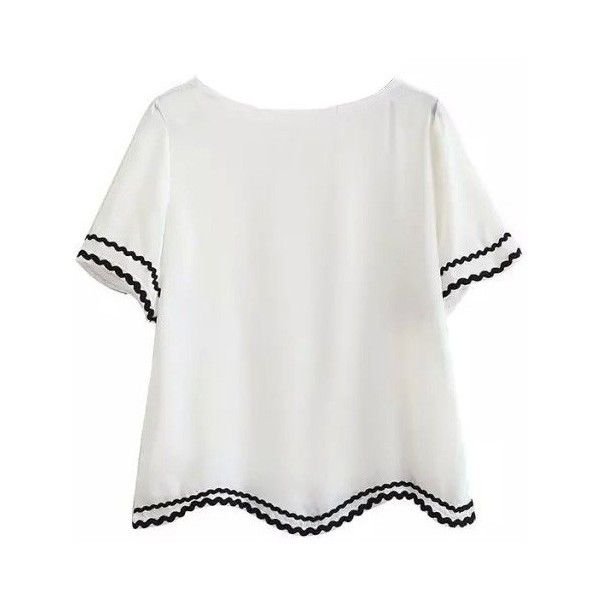 LUCLUC White Short Sleeve T-Shirt with Lace Panel ($17) ❤ liked on Polyvore featuring tops, t-shirts, shirts, tops/outerwear, white tops, white short sleeve shirt, t shirts, lace inset top and short sleeve tees