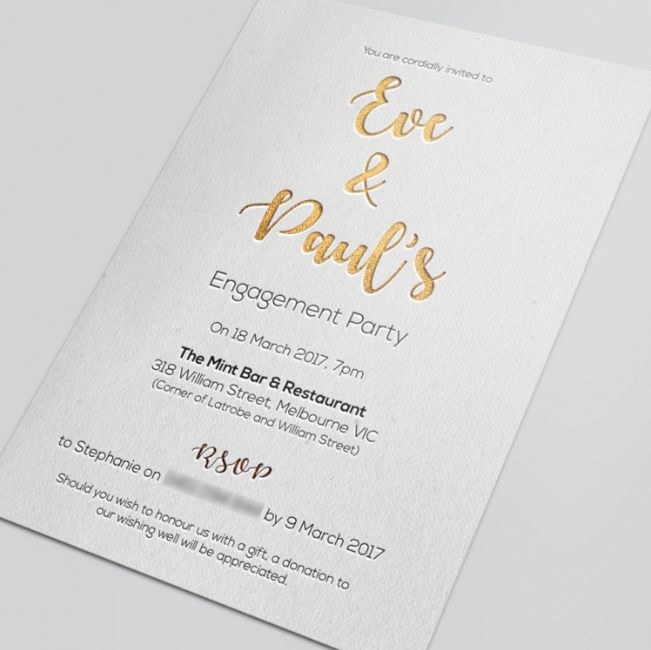 Engagement invite with Gold foil #socialdesignsww #invite #goldfoil #graphicdesign #engagementinvite