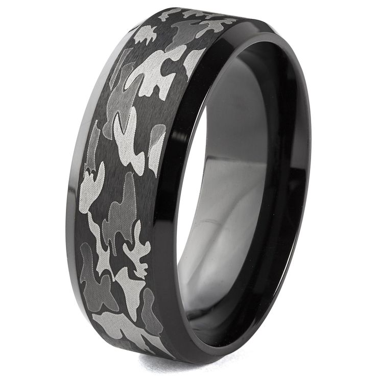 West Coast Jewelry Blackplated Stainless Steel and Camouflage Band Ring (8 mm) (Size 9), Men's, Black