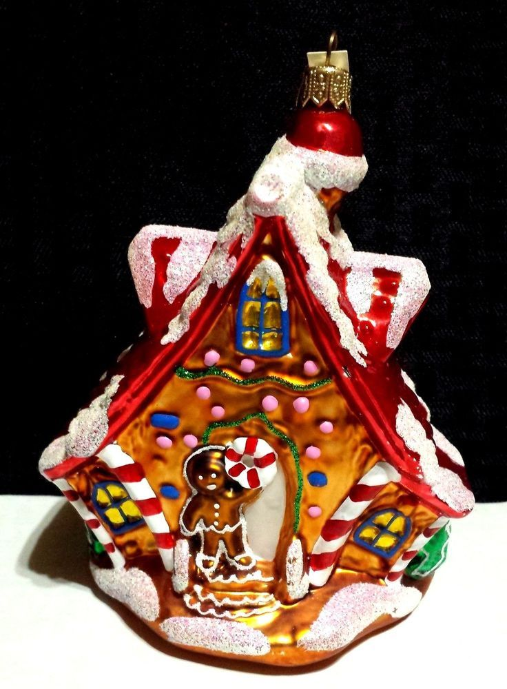 Gingerbread House Large Glass Christmas Ornament Made In Poland Glitter Accents How To Make Ornaments Pumpkin Ornament Gingerbread House