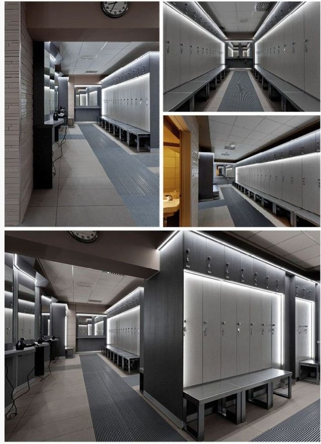 Modern Locker Room With Sophisticated Lighting.