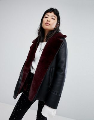 Stradivarius Biker Jacket With Contrast Shearling