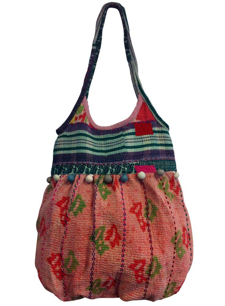 Kantha bag, recycled cotton sari