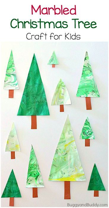 Marbled Christmas Tree Craft for Kids: Fun marbling art project for children. Turn the results into homemade ornaments! ~ BuggyandBuddy.com