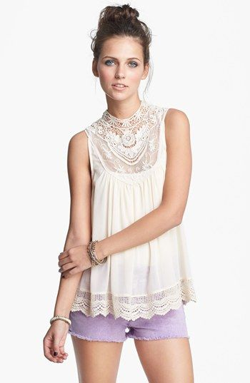 Elodie Lace Neck Top (Juniors) available at #Nordstrom