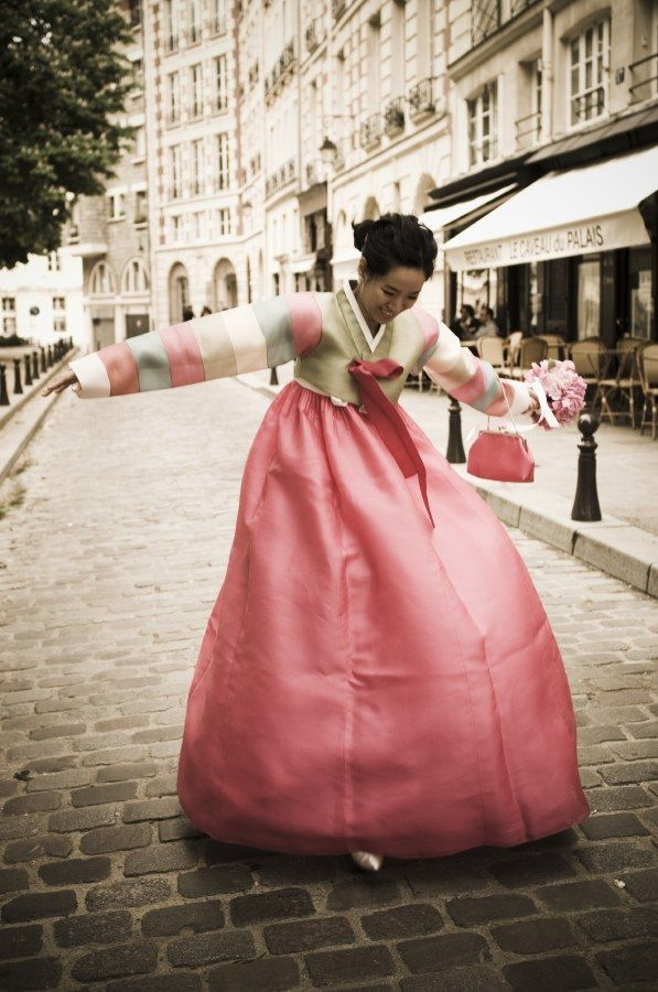 Hanbok - a Korean traditional dress, is made of two pieces: a chima, or a skirt, and a chogori, or jacket. They are used mainly for formal events and ceremonies today. They come in many bright colors and patterns and often include hand-made embroidery on the sleeves and collar.