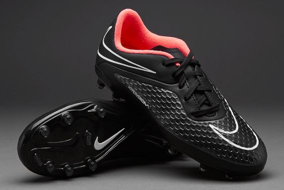 Nike Junior Football Boots - Nike Hypervenom Jnr Phelon FG - Firm Ground - Kids Soccer Cleats - Black-Hyper Punch-White