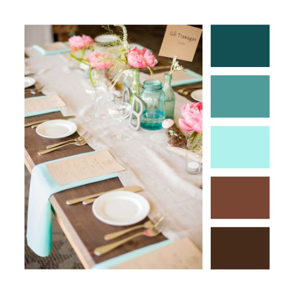 Wedding Colour Palettes - Teal, turquoise & brown (these will actually be my bathroom colors lol. pretty bad when I have to turn to pinterest to know what colors match teal ...)