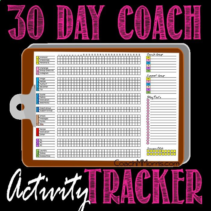 COACH Tip: 30 Day Activity Tracker ~ To Insanity Back