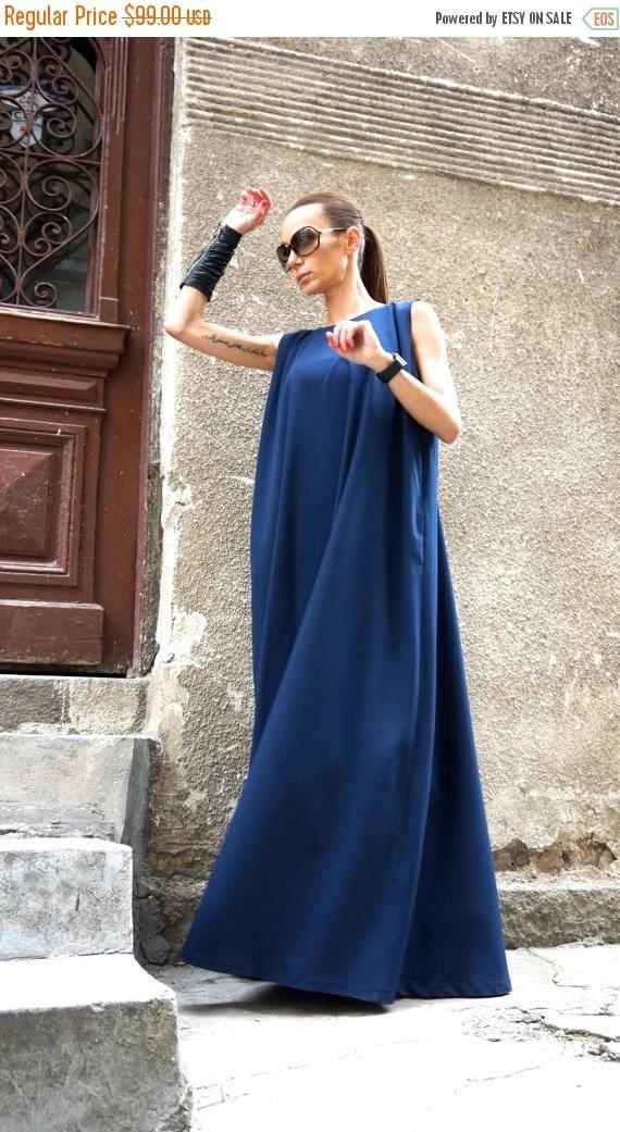 VENTA nuevo 2016 Maxi vestido / Kaftan azul marino /