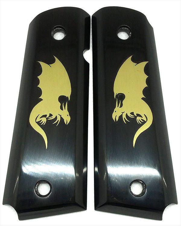 1911 Grips Horn Custom Handmade Brass Dragon inlay Genuine Water Buffalo Horn