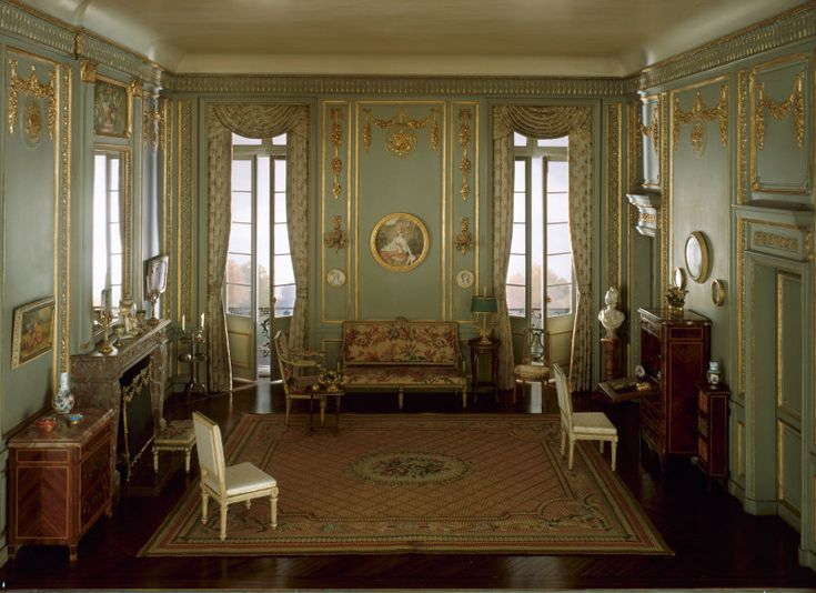 From The Art Institute Of Chicago Mrs James Ward Thorne American French Salon Louis XVI Period C 1937 Miniature Room Mixed Media Interior 15 X
