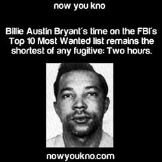 """On November 3, 1969, at 9:30 a.m., Judge Gerhard Gesell told Billie Austin Bryant that he """"would die in jail, but at the time God so appoints."""" A jury in Washington, D.C., had found Bryant guilty of two counts of first degree murder in the brutal slaying of two FBI agents. The jury had been unable to agree on a sentence, and this responsibility was placed on the U.S. District Court judge.  --  https://www.fbi.gov/history/famous-cases/billie-austin-bryant"""