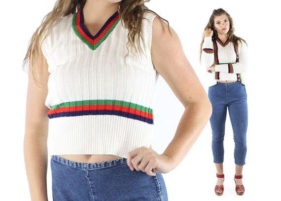 Vintage 70s Sweater Set Cardigan Vest White Red Blue Green Stripes Pullover Button Up 1970s Medium M Tennis Preppy Pinup Rockabilly