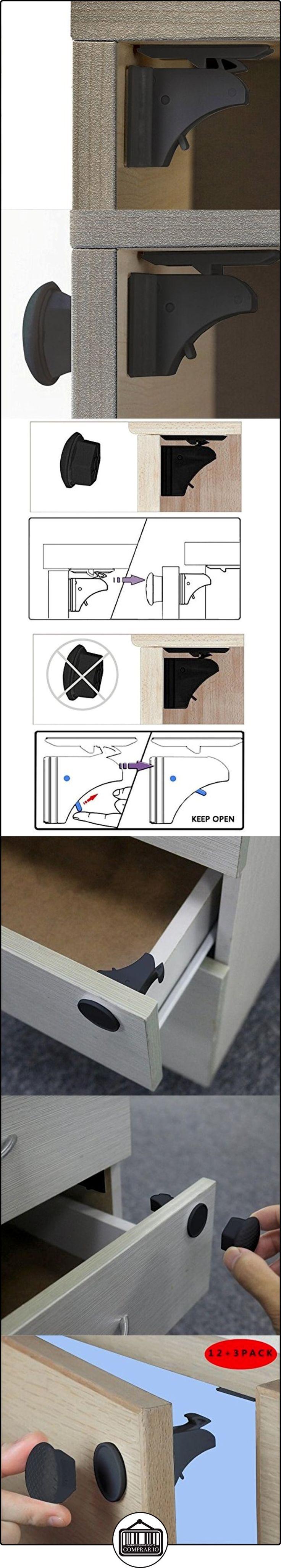 mytk 12cerraduras + 3llaves Pack niño seguridad armario Locks magnético adhesivo bebé Proofing armario/cajón cerraduras de seguridad No requiere taladrar (negro)  ✿ Seguridad para tu bebé - (Protege a tus hijos) ✿ ▬► Ver oferta: http://comprar.io/goto/B01N0E3JFQ